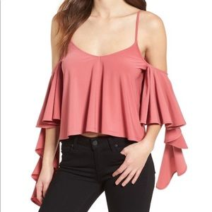 NWOTs LEITH Ruffle Red Baroque Tank Blouse